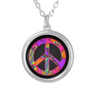 Fractal Peace Sign Color Me Bright Necklace