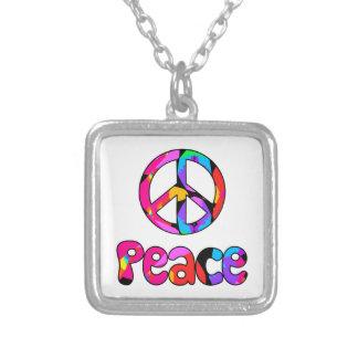 Fractal Peace Sign Flamingo Splash Necklace