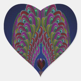 Fractal Peacock Heart Heart Sticker