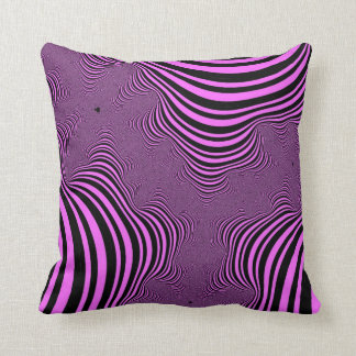 Fractal Pink and Black Zebra Stripes  Pillow