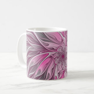 Fractal Pink Flower Dream, Floral Fantasy Pattern Coffee Mug