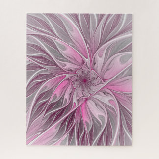 Fractal Pink Flower Dream, Floral Fantasy Pattern Jigsaw Puzzle