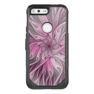 Fractal Pink Flower Dream, floral Fantasy Pattern OtterBox Commuter Google Pixel Case