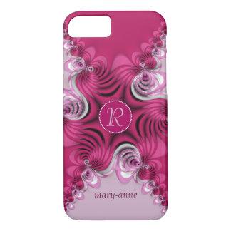 Fractal Pink Swirls Monogram Name iPhone 7 Case