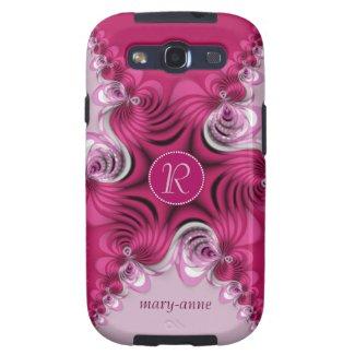 Fractal Pink Swirls Monogram Samsung S3 Galaxy S3 Case