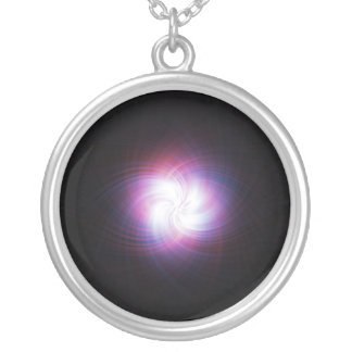 Fractal power round pendant necklace