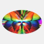 Fractal psicodélico de la mariposa pegatina ovalada