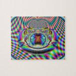 Fractal psicodélico de los rayos laser del arco ir puzzle con fotos