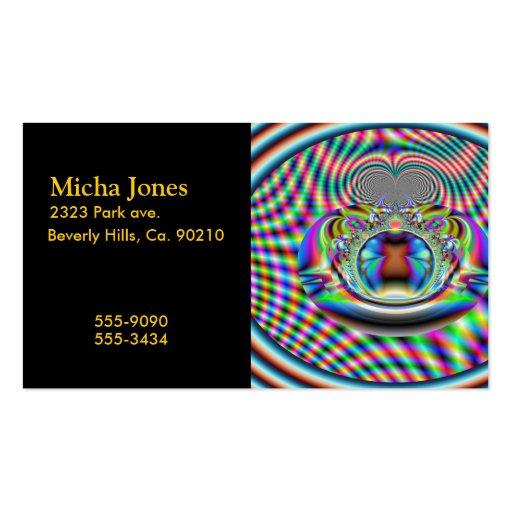 Fractal psicodélico de los rayos laser del arco ir plantilla de tarjeta de negocio