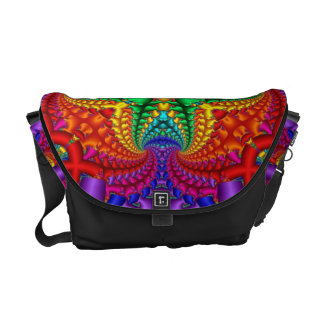 Fractal psicodélico del arco iris bolsa de mensajería