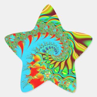 Fractal psicodélico del arte del remolino pegatina forma de estrella