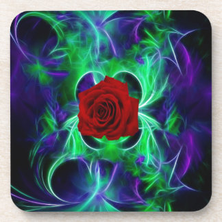 Fractal purple geen and red rose coaster