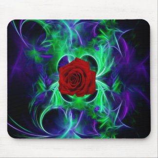 Fractal purple geen and red rose mouse pads