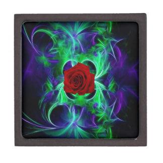 Fractal purple geen and red rose premium keepsake boxes