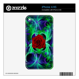 Fractal purple geen and red rose skin for the iPhone 4S