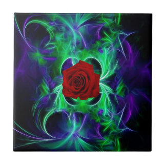 Fractal purple geen and red rose small square tile
