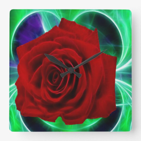 Fractal purple geen and red rose square wall clock