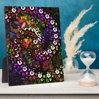 fractal purple Psychedelic Rainbow Spiral Trippy Plaque