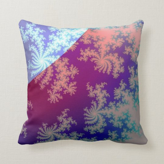 Fractal: purplish and blue throw pillow