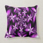 Fractal Purplish Pink Flowers Pillow