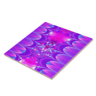 Fractal púrpura de la fantasía azulejo cuadrado grande