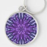 Fractal púrpura del copo de nieve llavero personalizado