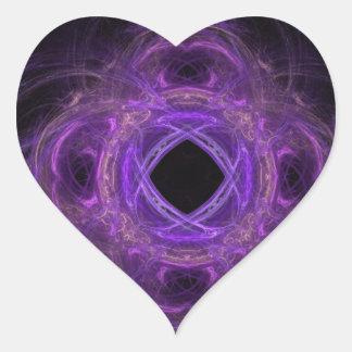 Fractal púrpura del dolor pegatina en forma de corazón