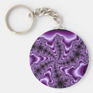 Fractal púrpura que tuerce en espiral llaveros