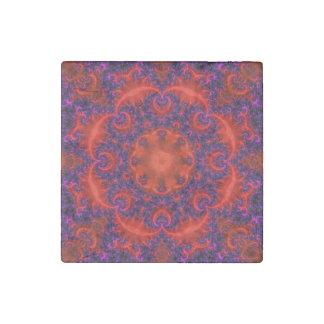Fractal púrpura rojo brillante imán de piedra