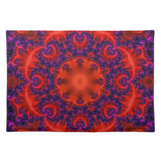 Fractal púrpura rojo brillante mantel individual