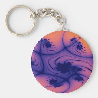Fractal púrpura y anaranjado llavero redondo tipo pin