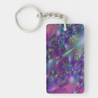 Fractal púrpura y azul de la burbuja llaveros