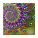 Fractal púrpura y verde de Bokeh Azulejos Ceramicos
