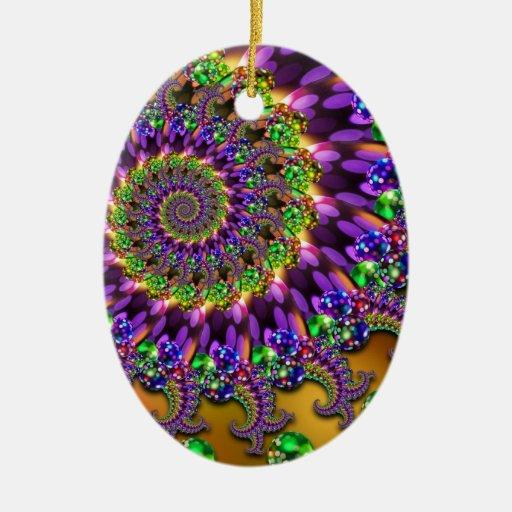 Fractal púrpura y verde de Bokeh Ornamento Para Reyes Magos