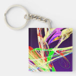 Fractal - Pussy Willows Double-Sided Square Acrylic Keychain