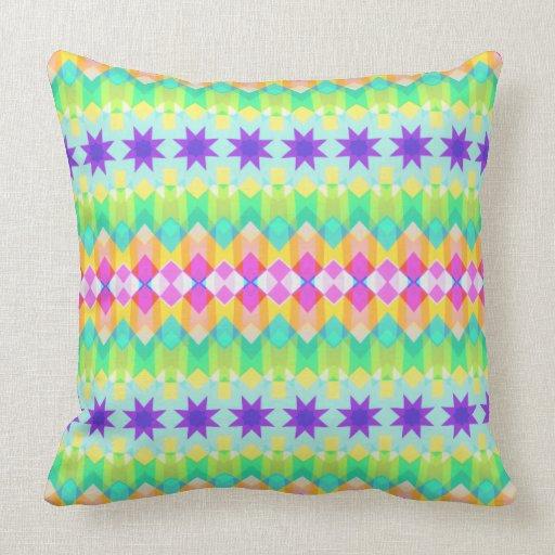 Fractal Quilt Pattern Throw Pillows Zazzle