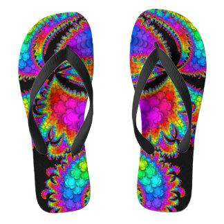 Fractal Rainbow Burst Flip Flops