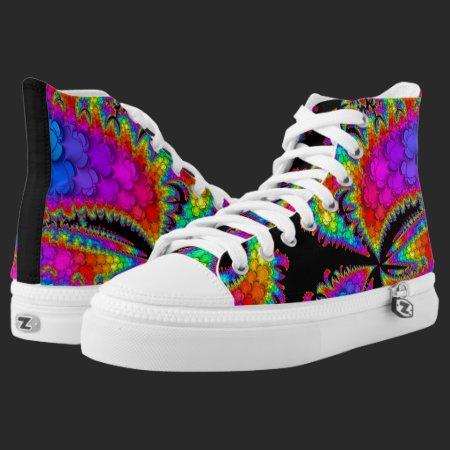 Fractal Rainbow Burst High-Top Sneakers