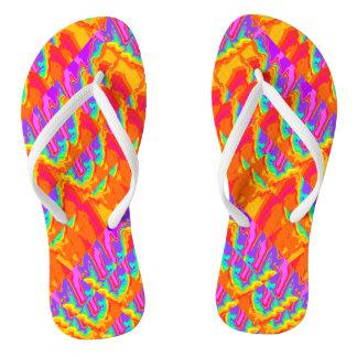 Fractal Rainbow Splash Flip Flops