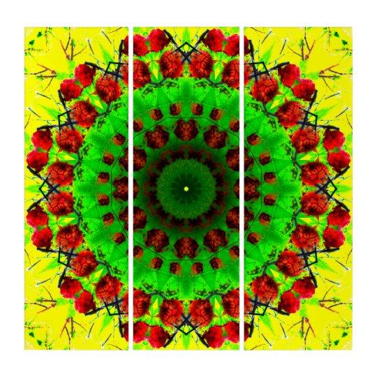 SPECTACULAR VIBRANT ENLIGHTMENT MANDALA FLOWER 5 PANEL STRETCHED CANVAS WALL ART