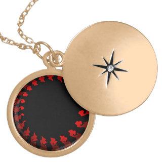 Fractal Red Black White Locket Necklace