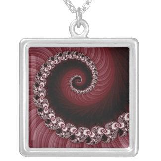 Fractal Red Spiral Necklace