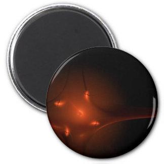 Fractal Red Star 2 Inch Round Magnet