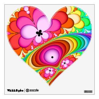 Fractal Retro Groovy Trip Heart Wall Sticker