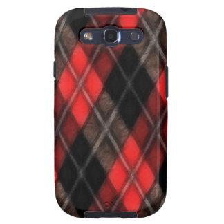 Fractal rojo de Argyle Galaxy S3 Fundas