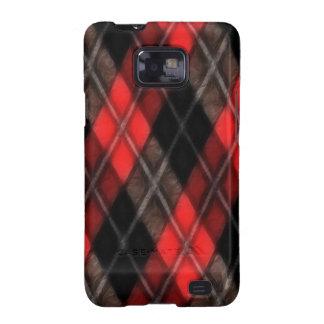 Fractal rojo de Argyle Samsung Galaxy SII Fundas