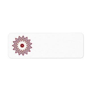 Fractal rojo de la flor etiqueta de remitente