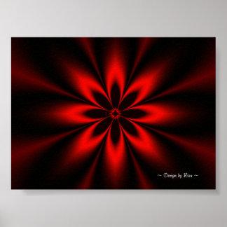 Fractal rojo de la flor póster