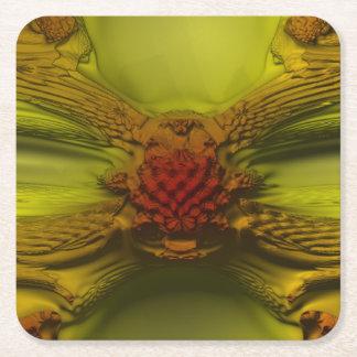 Fractal rojo del crecimiento posavasos de cartón cuadrado