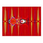 fractal rojo del resplandor postales